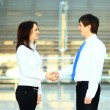 Cheerful businesspeople, or businesswoman and client handshaking — Stock Photo #57693729