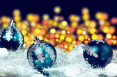 New year's blue balls on abstract background — Stock Photo