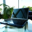 Workspace modern home office desk with laptop and equipment — Stock Photo #58921247