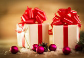 Christmas gift box with Christmas decorations and snow cones — Stok fotoğraf