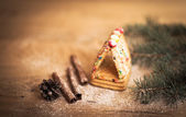 Cinnamon Christmas cookies and spices on wooden background — Stock Photo