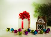 Gifts on a white background with Christmas balls — ストック写真