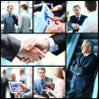 Collage of photo young people working together in business — Stock Photo #62637083