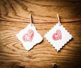 Red heart message card and red heart ..Image of Valentines day. — Stock Photo