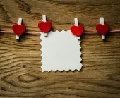 Red heart message card and red heart ..Image of Valentines day. — Stockfoto