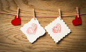 Red heart message card and red heart ..Image of Valentines day. — Zdjęcie stockowe