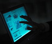 Hands of people working with tablet computer. — Stock Photo