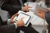 Hands of people working with tablet computer. — Stock fotografie