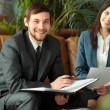 Businessman And Businesswoman Meeting In Modern Office — Stock Photo #69024675