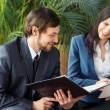 Businessman And Businesswoman Meeting In Modern Office — Stock Photo #70725831