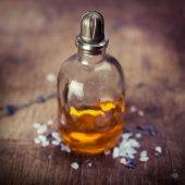 Massage oil lavender — Stock Photo