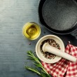 Постер, плакат: Food background with cast iron skillet