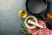 Food background with cast iron skillet, — Stock Photo