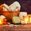 CPA still life, olive oil soap, candles — Stock Photo #68221875