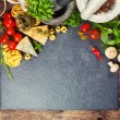 Italian food, pasta, cheese, vegetables and spices — Stock Photo #78640170