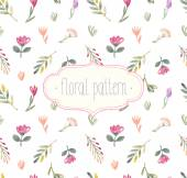 Vector Watercolor seamless floral pattern. — Stock Vector