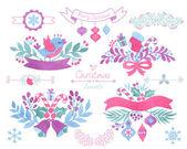 Watercolor christmas design elements. — Stock Vector
