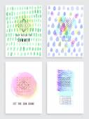 Hand drawn watercolor set of cards. — Stock Vector