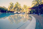 Tropical pool at resort with instagram effect — Stok fotoğraf