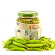 Euro money banknotes and preserved vegetable green pea — Stock Photo #52312719