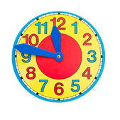 Beautiful colorful clock dial clock-face on white — Stock Photo