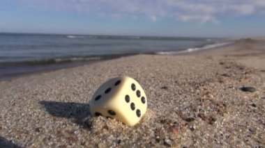 Lucky game dice with number six points on  resort sea beach sand — Stock Video