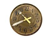 Dinner lunch time - old clock face dial with fork and knife arrows — Stock Photo