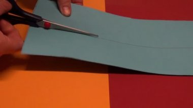 Artist hands clip with scissors  paper — Stock Video