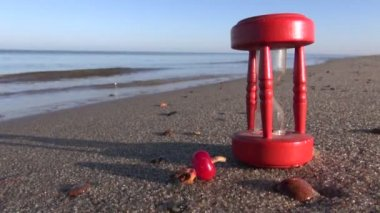 Ancient red broken hourglass sandglass clock and rose hips on sea beach sand — Stock Video