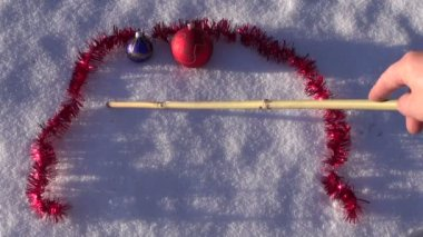 2016 new year written on winter snow and Christmas toys — Vidéo