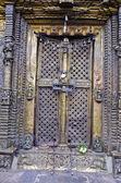 Closed ornate decorative brass door with locks — Foto Stock