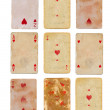 Collection old used playing card of hearts paper backgrounds isolated — Stock Photo #63724255