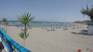 Resort beach in Rhodes island near Kamiros. Mediterranean sea, 4K — Stockvideo