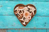 Grzyby jadalne grzyby w sercu postaci wiklinowy koszyk — Zdjęcie stockowe