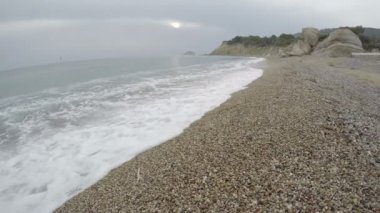 Beautiful Fourni beach in evening near Monolithos, Rhodes, Greece.  4K — Stock Video