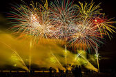 Colorful fireworks over night sky — Stock Photo