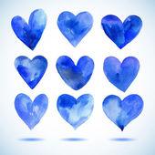 Aquarell blau bemalten herzen set, vektorelemente für ihr design — Stockvektor