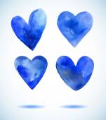 Watercolor blue painted heart set,vector elements for your design — Stock Vector