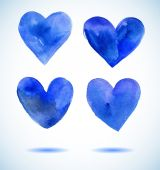 Watercolor blue painted heart set,vector elements for your design — Wektor stockowy