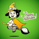 Bebé vestido con un traje de bruja de halloween. truco o trato. chica de halloween — Vector de stock