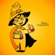 Little girl witch holding baby bottles with witchcraft potions. Happy Halloween card — Stock Vector #54429133