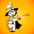 Little girl witch holding baby bottles with witchcraft potions. Happy Halloween card — Stock Vector #54429153