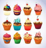 Super cake pack. Chocolate and vanilla Cupcake — Wektor stockowy
