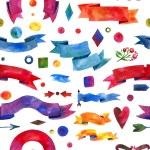 Ribbon watercolor seamless pattern. design elements, background, label, bubble, ribbon, arrow — Stock Photo #56536833