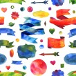 Ribbon watercolor seamless pattern. design elements, background, label, bubble, ribbon, arrow — Stock Photo #56536843