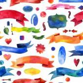 Ribbon watercolor seamless pattern. watercolor design elements, background, label, bubble, ribbon, arrow — Stock Photo
