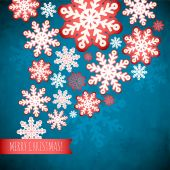 Snowflake winter blue background, christmas paper pattern. — Stock Vector