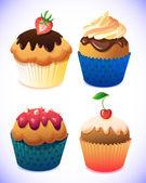 Cupcake pack. Chocolate and vanilla icing cupcakes. Strawberry, cherry, cream — Stock Vector