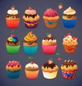Super cupcake pack. Chocolate and vanilla icing cupcakes. Strawberry, cherry, cream — Stock Vector