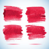 Brushstroke banners. Ink red watercolor spot backgrounds.Template with shadow — Stock Vector